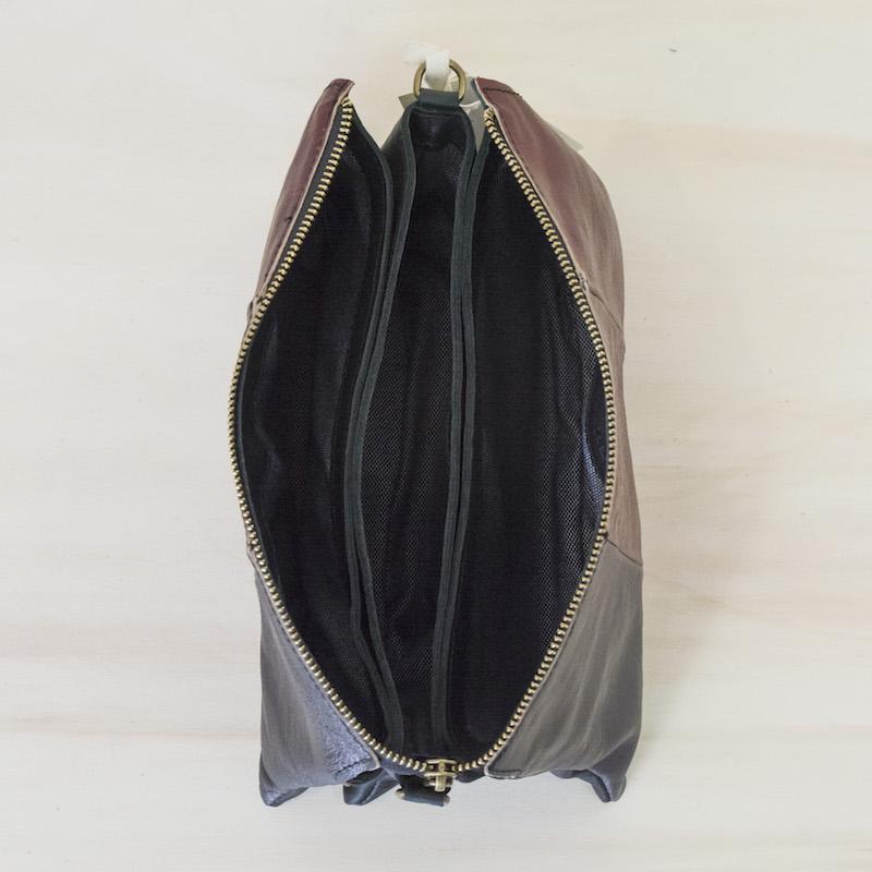 3Chic Palmira pochette in pelle (laminato stropicciato) - col. vino e ruggine
