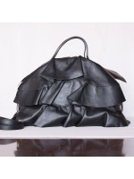 Borsa in pelle con frappe Made in Italy - col. nero
