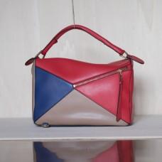 Borsa geometrica in pelle Made in Italy - col. rosso/tortora/blu