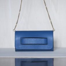 Pochette in pelle Made in Italy - col. blu