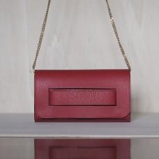 Pochette in pelle Made in Italy - col. rosso