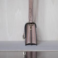 Pochette in pelle stampa rettile Made in Italy - col. cipria