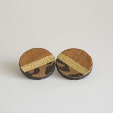 Orecchini a bottoncino in pelle (grandi) - Made in Italy