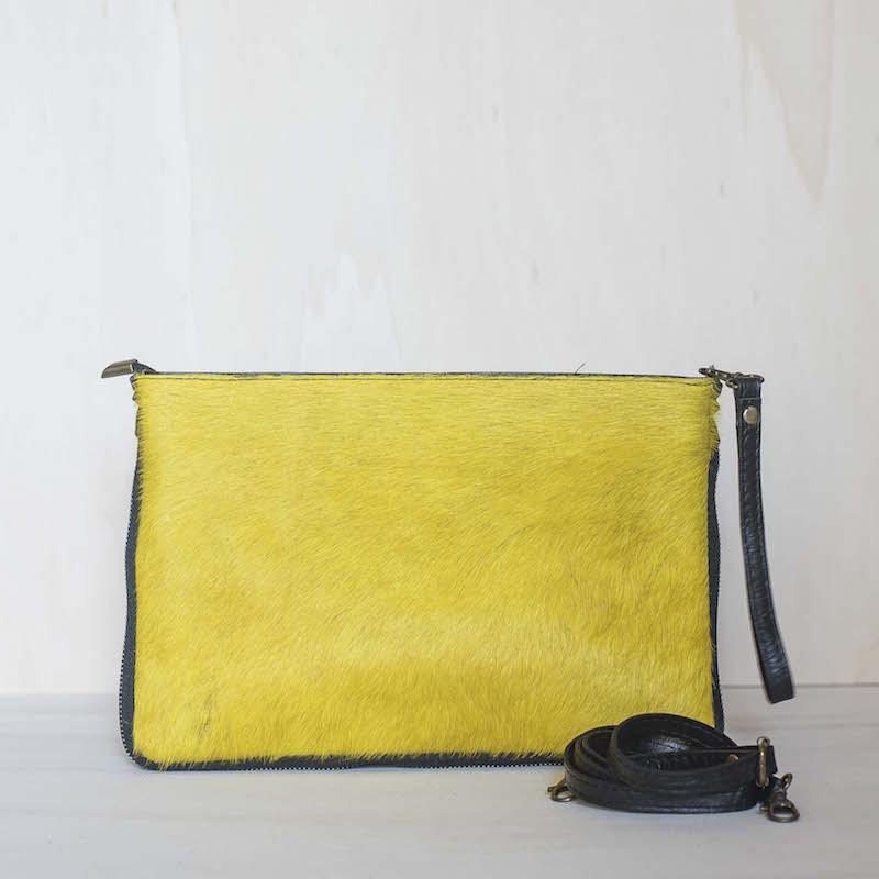 Pochette in pelle e cavallino Made in Italy - col. giallo acido