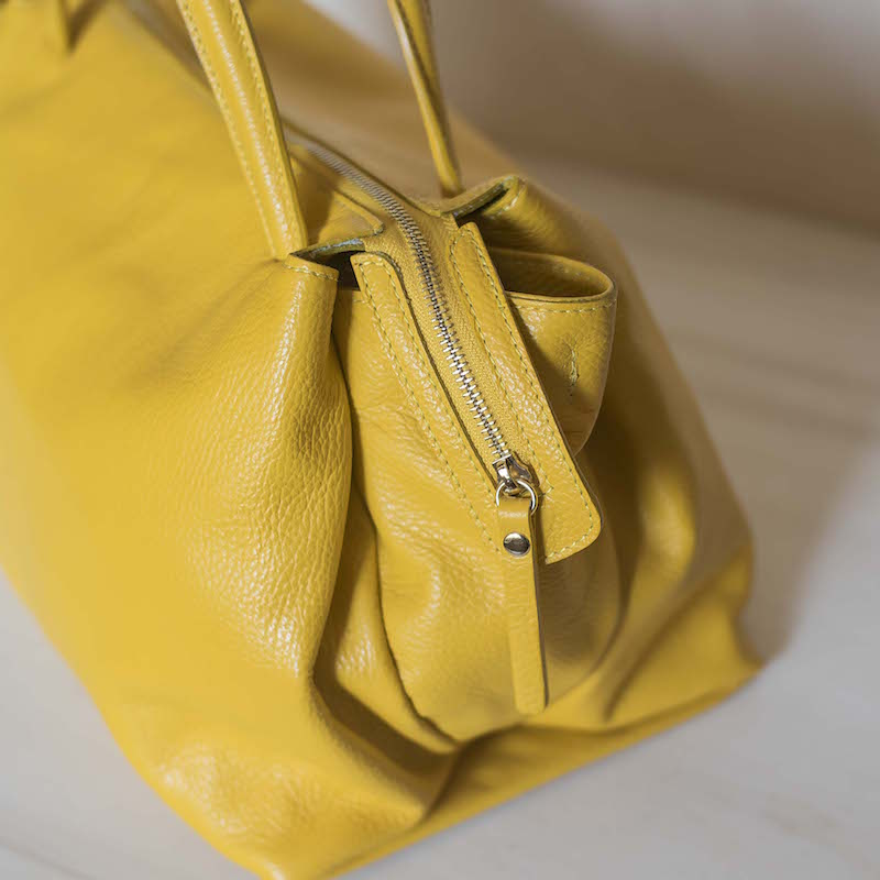 Borsa in pelle Made in Italy - col. giallo