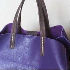 Borsa in pelle con pochette Made in Italy - col. viola