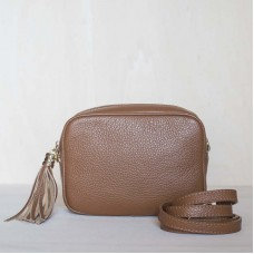 Pochette in pelle Made in Italy - col. cognac
