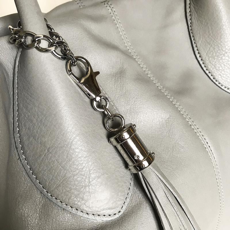 Maxima borsa in pelle Sauvage  col. grigio