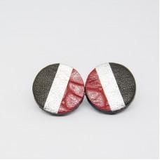 Orecchini a bottoncino in pelle - Made in Italy