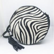 Borsa tonda in pelle e cavallino Made in Italy - col. zebrato