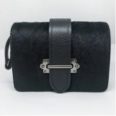 Pochette / Marsupio in pelle e cavallino Made in Italy - col nero