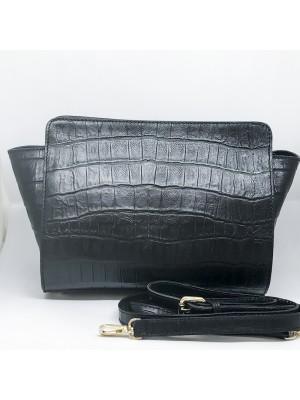Pochette in pelle lavorata Made in Italy stampa Cocco - col nero