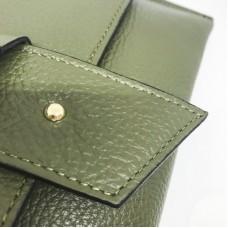 Pochette in pelle Made in Italy - col. verde militare