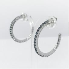 Principessa Glam cerchio strass orecchino - col. argento/petrolio