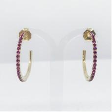 Principessa Glam cerchio strass orecchino - col. oro/fucsia