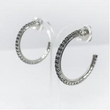 Principessa Glam cerchio strass orecchino - col. argento/nero