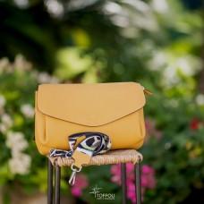 Borsa in pelle con tracolla fantasia - col. giallo girasole