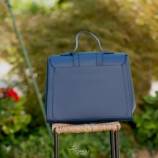 Borsa elegante in pelle martellata - col. blu navy